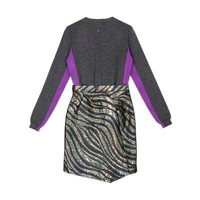 color block knit & hologram skirt